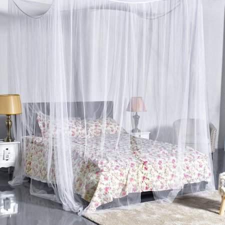 masknan Four Corner Post Elegant Mosquito Net Bed Canopy Set, Beige, Full/Queen/King