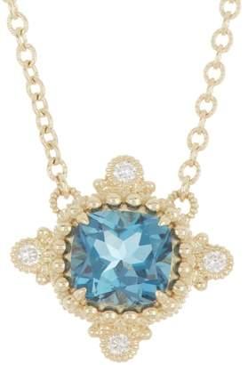Judith Ripka Angelica 14K Yellow Gold Cushion Cut Blue Topaz CZ Pendant Necklace