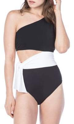 Lauren Ralph Lauren Bel Aire Cut-Out On-Shoulder One-Piece Swimsuit