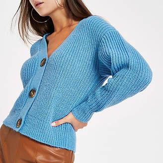 e25ae8eeff River Island Womens Light Blue horn button knit cardigan