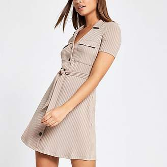 River Island Beige ribbed utility shirt dress