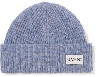Ganni Hatley Ribbed Wool Beanie - Lilac