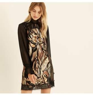 Amanda Wakeley Gold Metallic Jacquard Short Dress