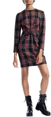 Maje Plaid Twist Front Dress