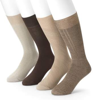 Croft & Barrow Men's 4-Pack Textured Windowpane Dress Socks