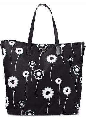 Prada Textured Leather-Trimmed Floral-Print Gabardine Tote