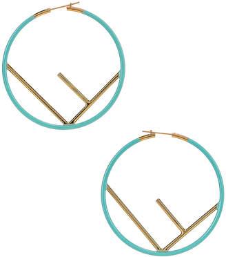 Fendi Logo Hoop Earrings in Tiffany Blue | FWRD