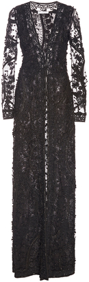 Oscar de la Renta Long Sleeve V Neck Ribbon and Beaded Gown $11,990 thestylecure.com