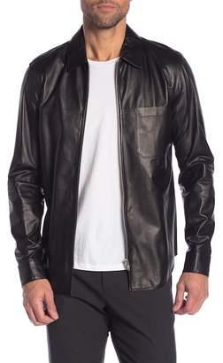 Theory One Pocket Zip Lamb Leather Shirt
