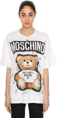 Moschino Safety Pin Bear Cotton Jersey T-Shirt