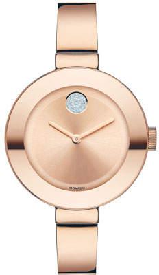 Movado 34mm BOLD Crystal Bangle Watch, Rose