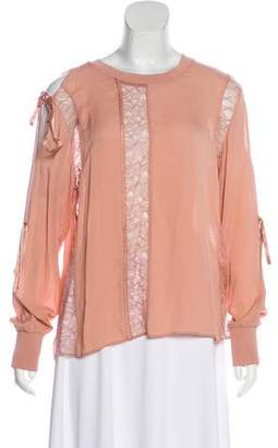 3.1 Phillip Lim Silk Lace-Trimmed Long Sleeve Top
