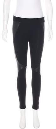 Helmut Lang Leather-Paneled Low-Rise Leggings
