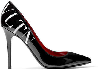 Valentino Garavani Logo-print Patent-leather Pumps - Black