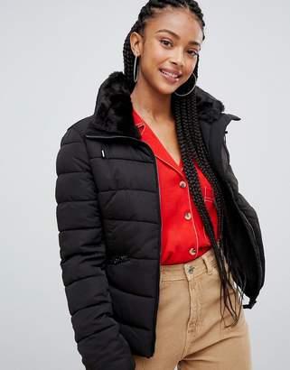 Bershka padded jacket with belt detail in black