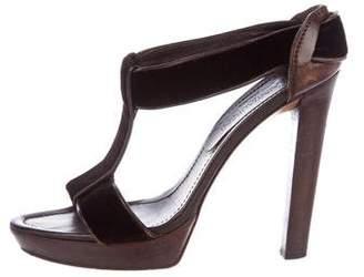 Saint Laurent Velvet T-Strap Sandals