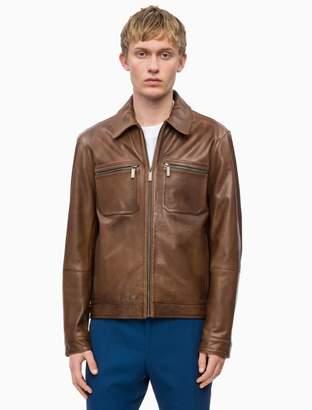 Calvin Klein nappa leather zip jacket