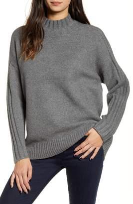 Chelsea28 Stripe Detail Mock Neck Sweater