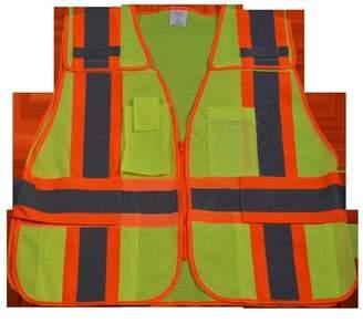 Petra Roc LVM2-PSV-REG Public Safety Vest 207-2006 Lime Mesh with Orange Binding 5-Point Breakaway 5 Pockets, Regular Small & Extra Large
