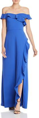 BCBGMAXAZRIA Eve Ruffled Off-the-Shoulder Gown