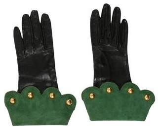 Hermes Bi-Color Suede and Leather Gloves