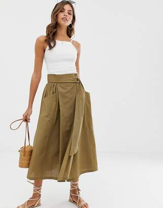Asos Design DESIGN wrap midi skirt with D-ring and pockets