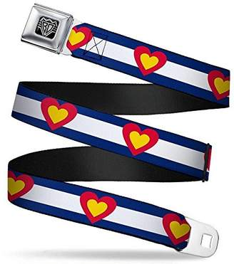 Buckle-Down Unisex-Adults Seatbelt Belt Colorado Regular Heart Blue/White/red/Yellow