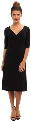 Christin Michaels Tea Length 3/4 Sleeve Wrap Dress Women's Dress