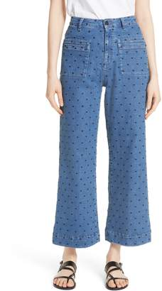 Ulla Johnson Niko Polka Dot Crop Flare Jeans