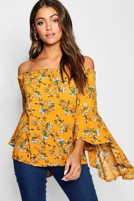 boohoo Off The Shoulder Floral Woven Top