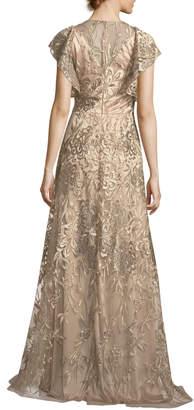 David Meister Sleeveless Ruffled Metallic Lace Gown