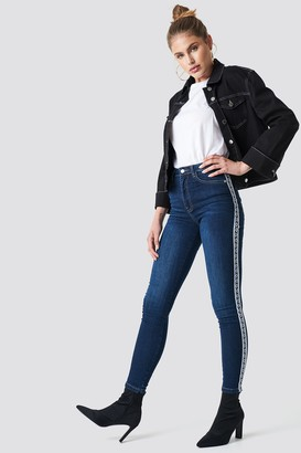 NA-KD Na Kd Skinny High Waist Side Stripe Jeans Black