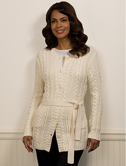 Country Club Cotton Belted Cable Cardigan
