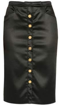 Versace Women's Stretch Satin Button-Front Midi Skirt - Black - Size 38 (2)