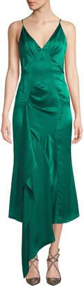 V-Neck Sleeveless Empire Asymmetric Drape Silk Satin Dress