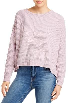 Elan International Chenille Overlay-Back Cropped Sweater
