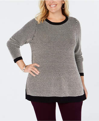 Charter Club Plus Size Graphic-Knit Tunic Top