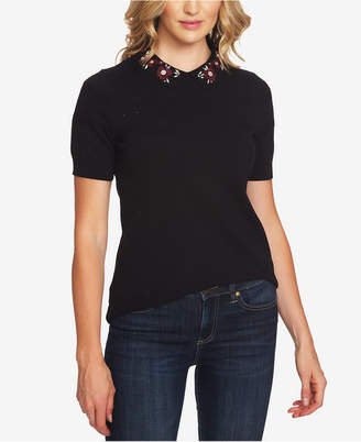 CeCe Cotton Embroidered-Collar Sweater