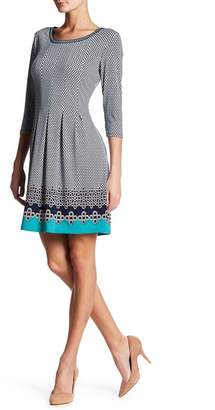 Max Studio 3/4 Length Sleeve Release Pleat Flare Dress