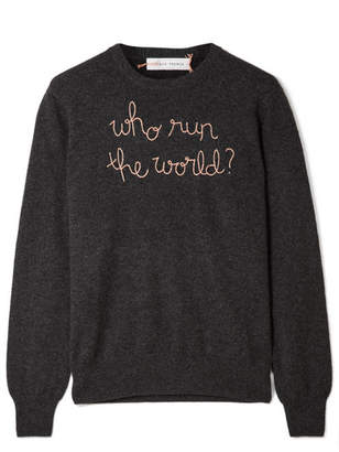 Lingua Franca - Who Run The World Embroidered Cashmere Sweater - Charcoal