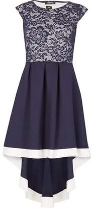 Dorothy Perkins Womens *Feverfish Navy Hi Lo Lace Skater Dress