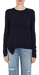 Derek Lam 10 Crosby WOMEN'S RUFFLE-DETAILED KNIT CASHMERE SWEATER-NAVY SIZE L