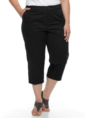 Croft & Barrow Plus Size Button Accent Twill Capris