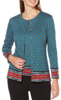 Rafaella Petite Printed Cotton Cardigan