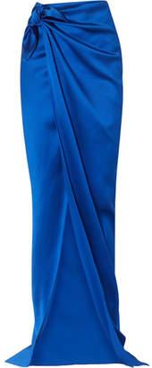 Balenciaga Satin Wrap Maxi Skirt - Blue