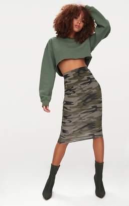 PrettyLittleThing Khaki Camo Print Midi Skirt