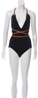 Michael Kors Leather-Trimmed One-Piece Swimsuit w/ Tags