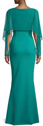 Chiara Boni Nomeda Illusion Gown w/ Mesh Capelet