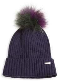 Bari Lynn Knit Fur Pom Hat
