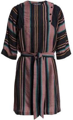 Antik Batik Belted Striped Wool-Flannel Mini Dress